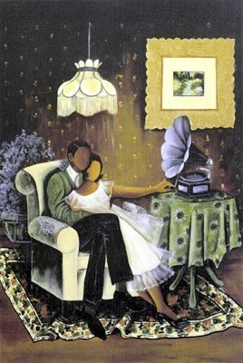 "This African-American art print is entitled ""Love Song"" by Annie Lee. It is currently available in our Black Love Art Prints and Posters Collection for: $45.00"