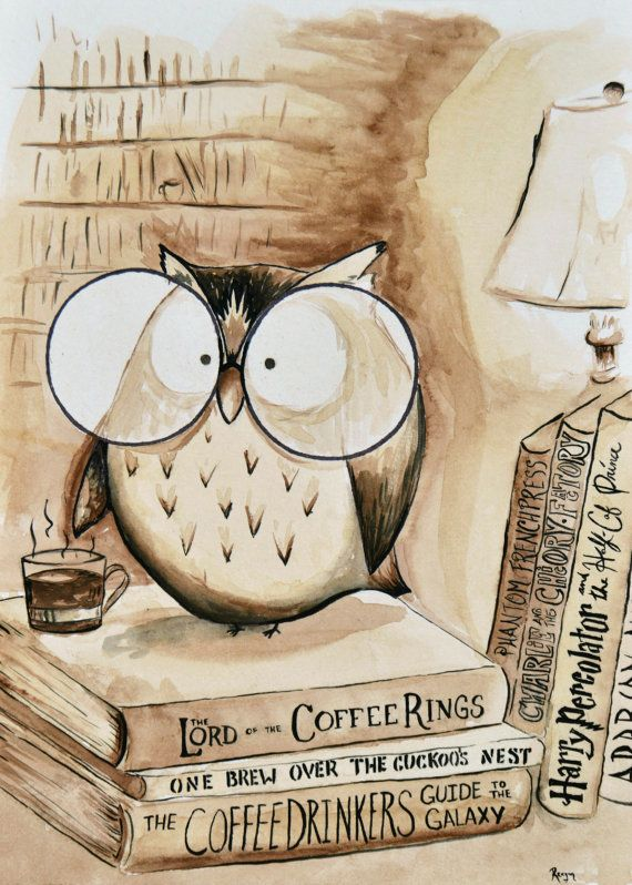 """""""Coffee Book Nerd"""" An original coffee/water color painting by . With a love of coffee, The originals are painted with coffee and watercolor"""
