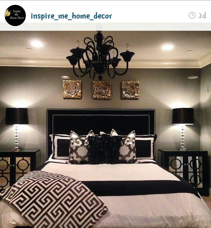 Bedroom idea home decor pinterest dormitorio for Master bedroom black and white ideas
