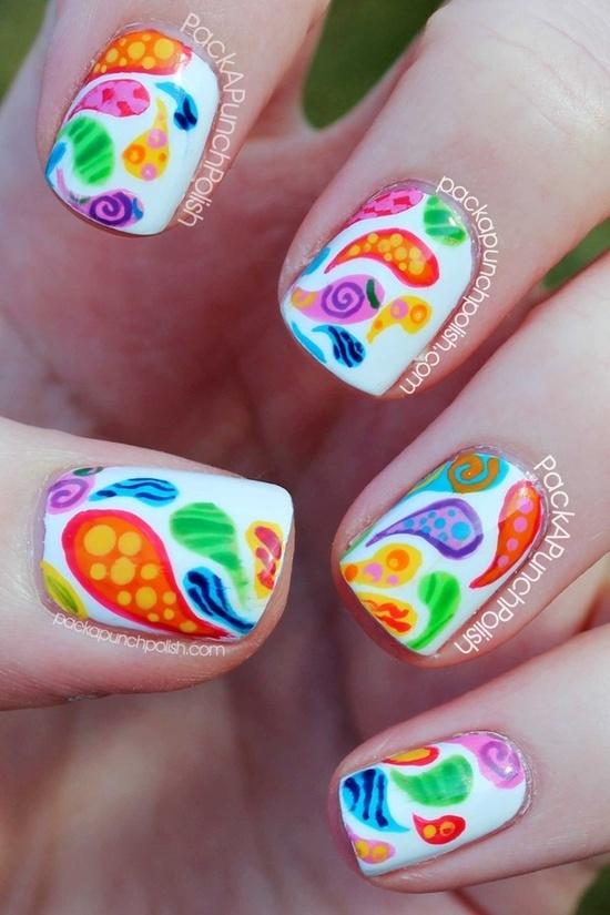 Colorful Patterned Paisley Nail Art...