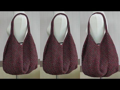 손뜨개 코바늘 망태기가방 숄더백 - crochet square motif bag - YouTube
