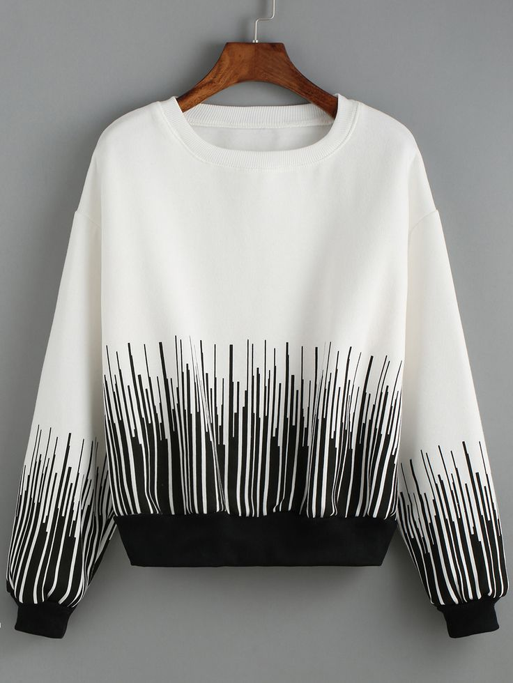 Color-block Round Neck Striped Sweatshirt