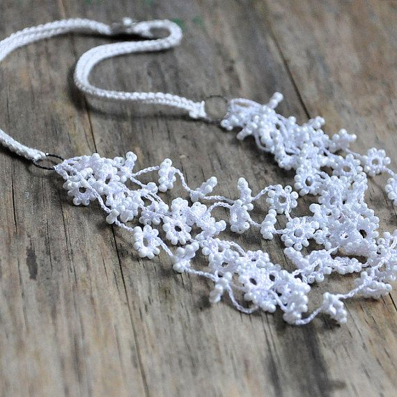 Flower Fall Crocheted And Beaded Necklace in White Wedding Jewelry Unique Floral…