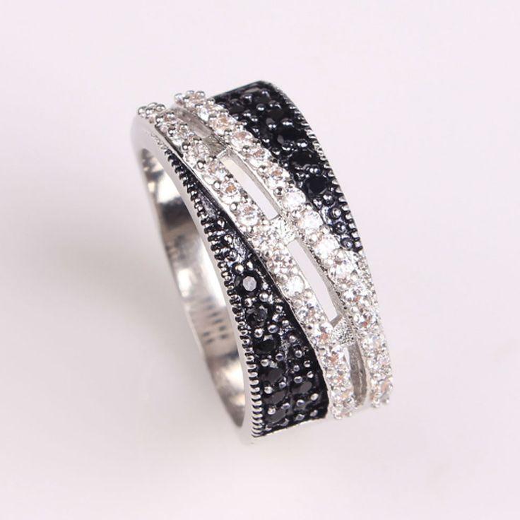 Jexxi keren finger perhiasan putih & hitam cubic zirconia cincin wanita pria 925 sterling silver fashion aksesoris anillo