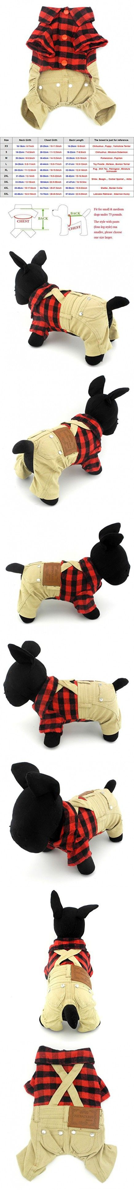 SMALLLEE_LUCKY_STORE for pets Red Plaid Shirts Sweater with Khaki Overalls Pants Jumpsuit Outfits L