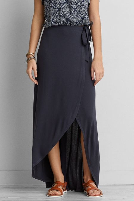 American Eagle Outfitters AEO Soft & Sexy Wrap Maxi Skirt
