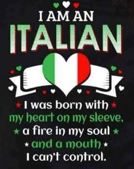 I am italian. I was born with my heart on my sleeve, a fire in my soul and a mouth I can't control