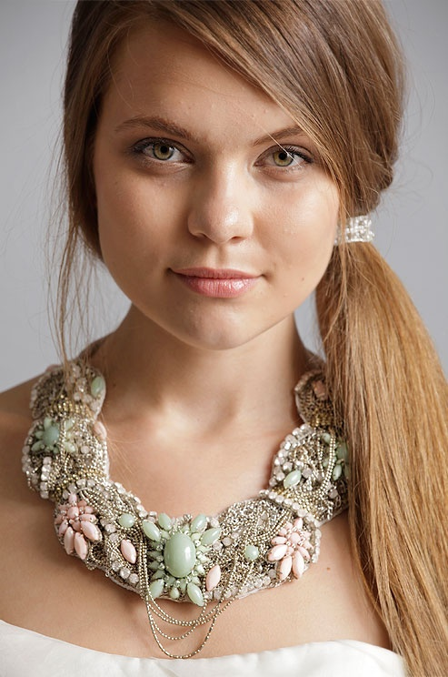 A Chunky Mint Green Pink Wedding Necklace From Alyne Spring 2017