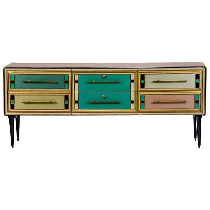 Sideboard With Multicolor Murano Glass Panels Attributed To Emanuel Ungaro