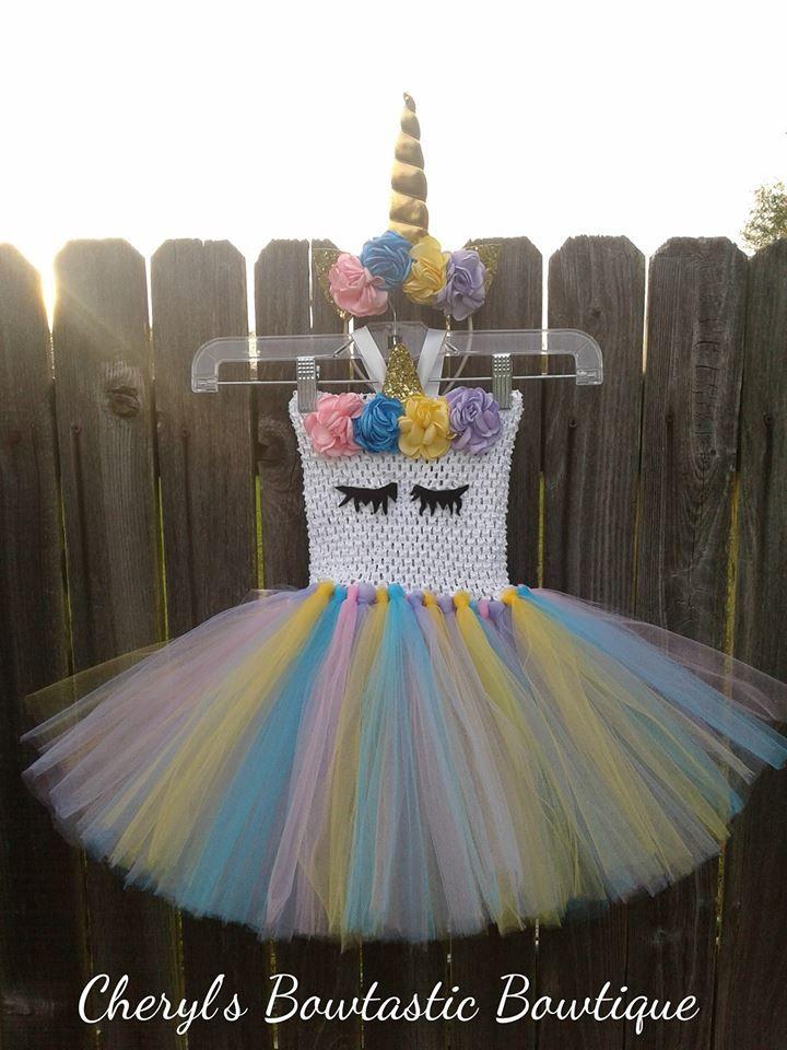Rainbow unicorn tutu set with headband horn