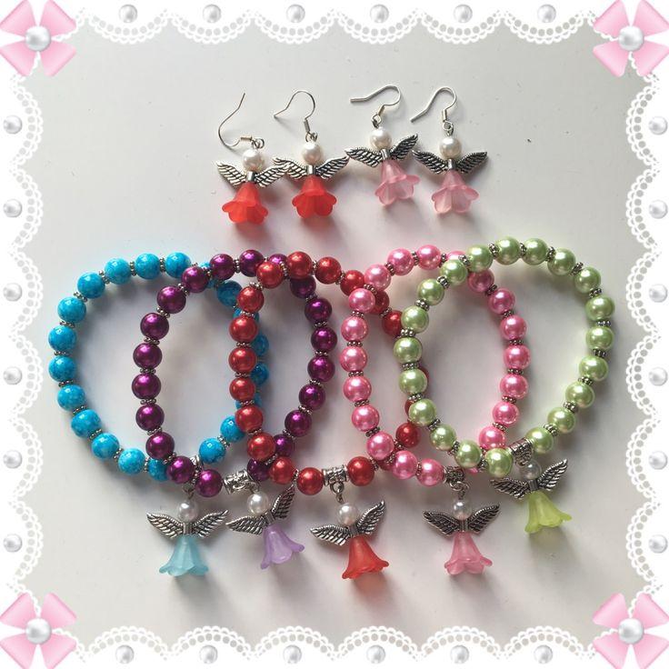 Angela änglar beads braclet armband errings örhängen by Made by Sofia