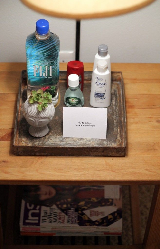 Love the idea of a welcoming guest tray with pitcher of water/amenities