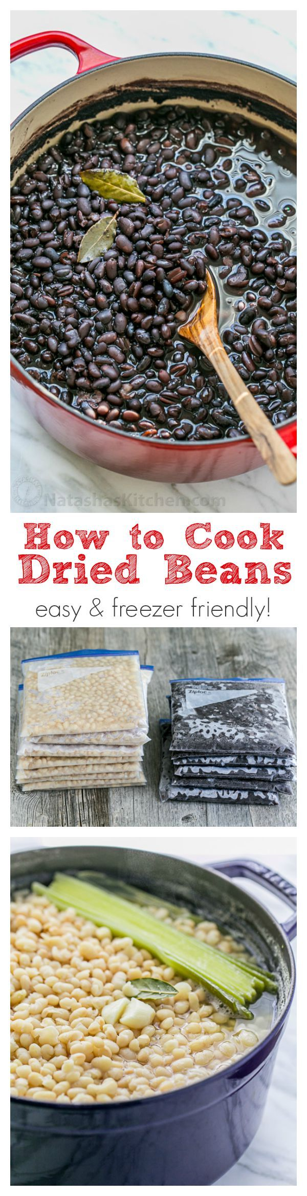 How to Cook Dried Beans: Easy and freezer friendly! Home cooked beans can be used for any recipe that calls for canned beans | natashaskitchen.com