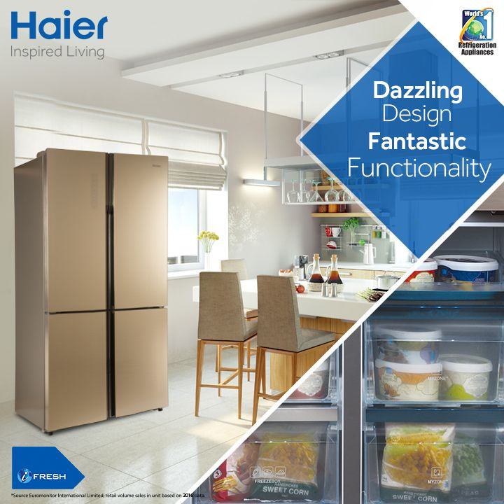 Style up your kitchen with French Door from #Haier ! They bring along cool designs and super cool technology to enhance your home décor. Know More: http://bit.ly/2e2x0a4