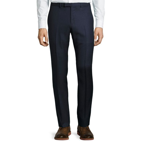 Gucci Monaco Wool Trouser Pants ($396) ❤ liked on Polyvore featuring men's fashion, men's clothing, men's pants, men's dress pants, navy, mens wool dress pants, mens navy blue pants, mens navy dress pants, old navy mens pants and mens navy blue dress pants