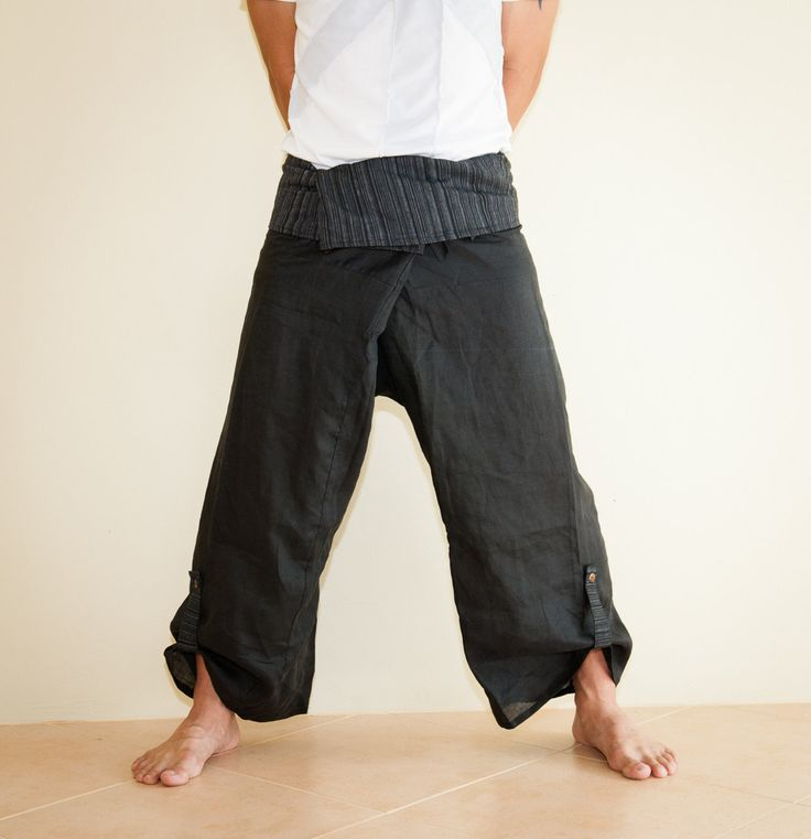 Fisherman pants | Thin Linen Unisex Fisherman Pants Solid Color with Spectrum Pattern ...