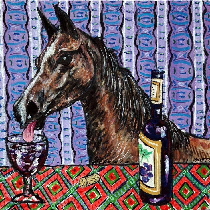 arabian HORSE art ceramic tile COASTER gift JSCHMETZ modern folk art wine