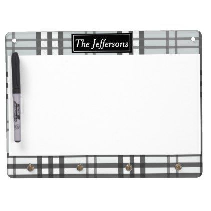 Grayscale Tartan Pattern Dry Erase Board With Keychain Holder - classic gifts gift ideas diy custom unique