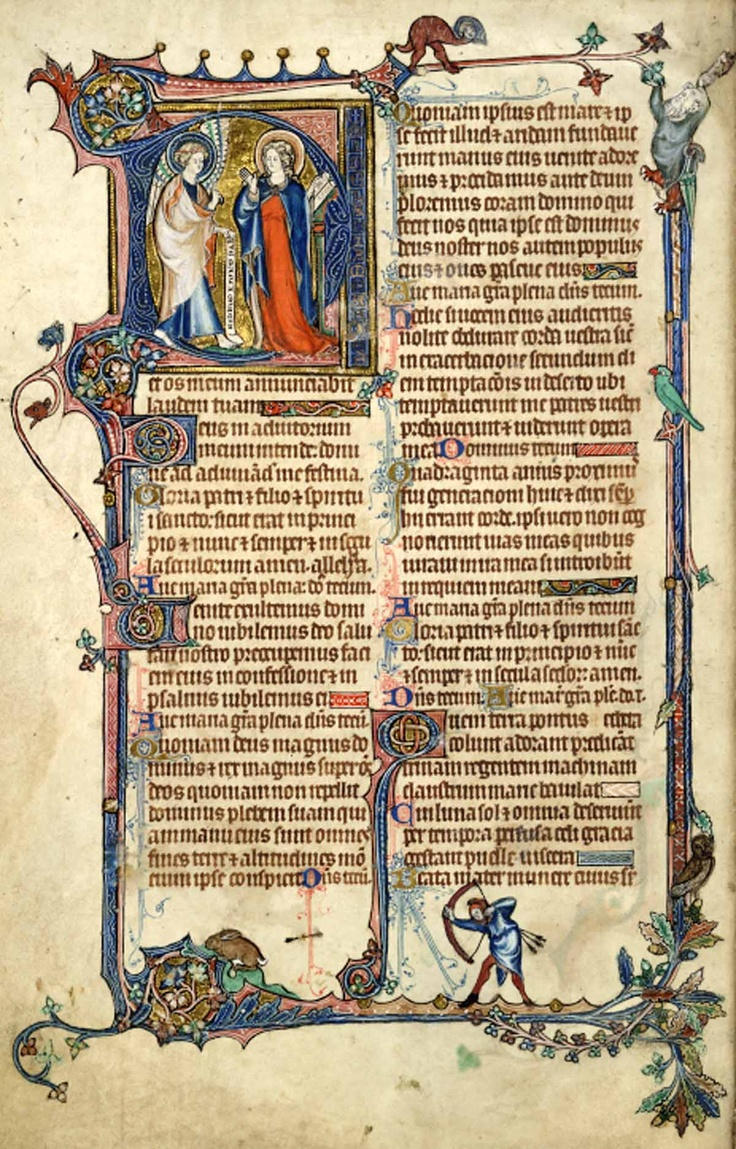 This image is from a fragmentary Office of the Dead and Hours of the Virgin, dating perhaps from c.1300-1310, and close in style to the Tickhill Psalter (now in New York Public Library, Ms Spencer 26: see Image 158). In the later 15th-century it was at the Benedictine Priory of Kington St Michael, Wiltshire. In the initial is the scene of the Annunciation. Gabriel enters bearing a scroll, and Mary turns from her book as if in surprise.