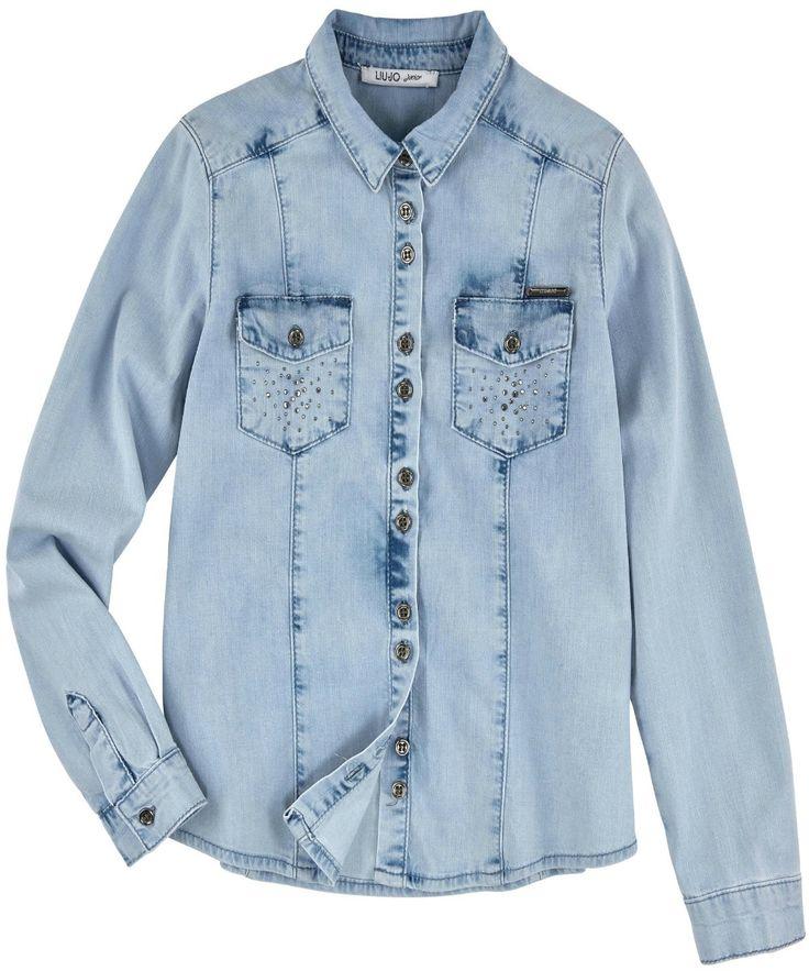 CAMICIA LIU JO JUNIOR,  #Camicia in #denim di Liu Jo #Junior da #bambina e da #ragazza di #colore blu chiaro con leggero effetto #vintage, abbottonatura frontale, 2 tasche sul petto con applicazioni in #strass. #liujojunior #liujobaby #liujokids #liujo #liujobimbi #liujobambini  http://www.abbigliamento-bambini.eu/compra/camicia-denim-liu-jo-junior-2780834