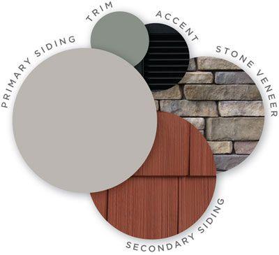 Mastic color palette, midnight mystery, quest vinyl siding, cedar discovery vinyl shingle siding, designer accents, trim, ledgestone stone veneer, coordinating colors