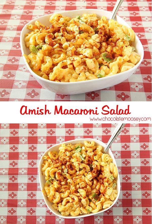 Amish Macaroni Salad is a twist on the classic macaroni salad with mustard, paprika, and a little bit of sugar.