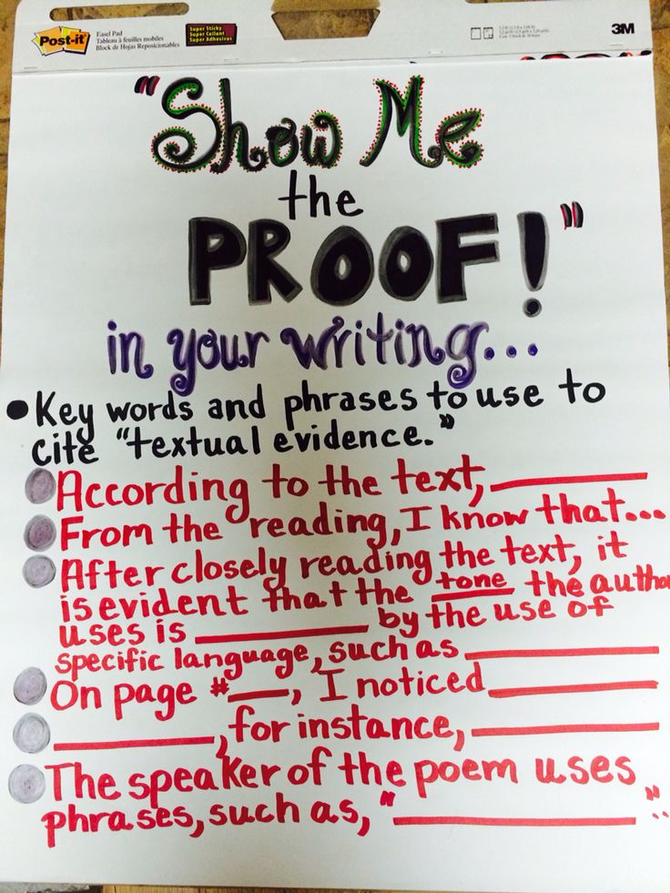 """""""Show Me the Proof"""" anchor chart"""