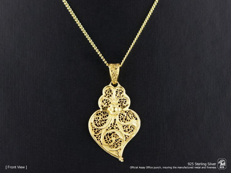 Portuguese Filigree PENDANT Minhoto (3.5cm) with Necklace in 925 Sterling Silver w/ 24k Gold Bath by NadirFiligree on Etsy