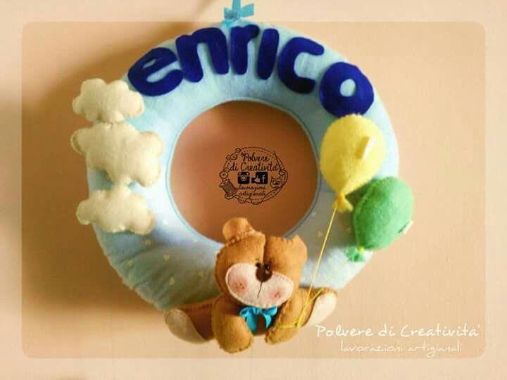 Fiocco Nascita per il piccolo Enrico #pannolenci #feltro #handmade