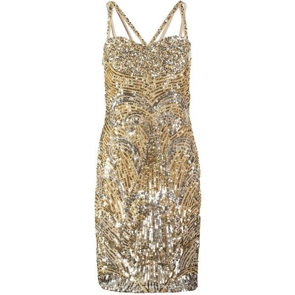 Virgos Lounge STEEL Cocktail dress / Party dress silver/gold (£116) ❤ liked on Polyvore featuring dresses, gold, tall dresses, silver party dress, gold dress, spaghetti strap dress and going out dresses
