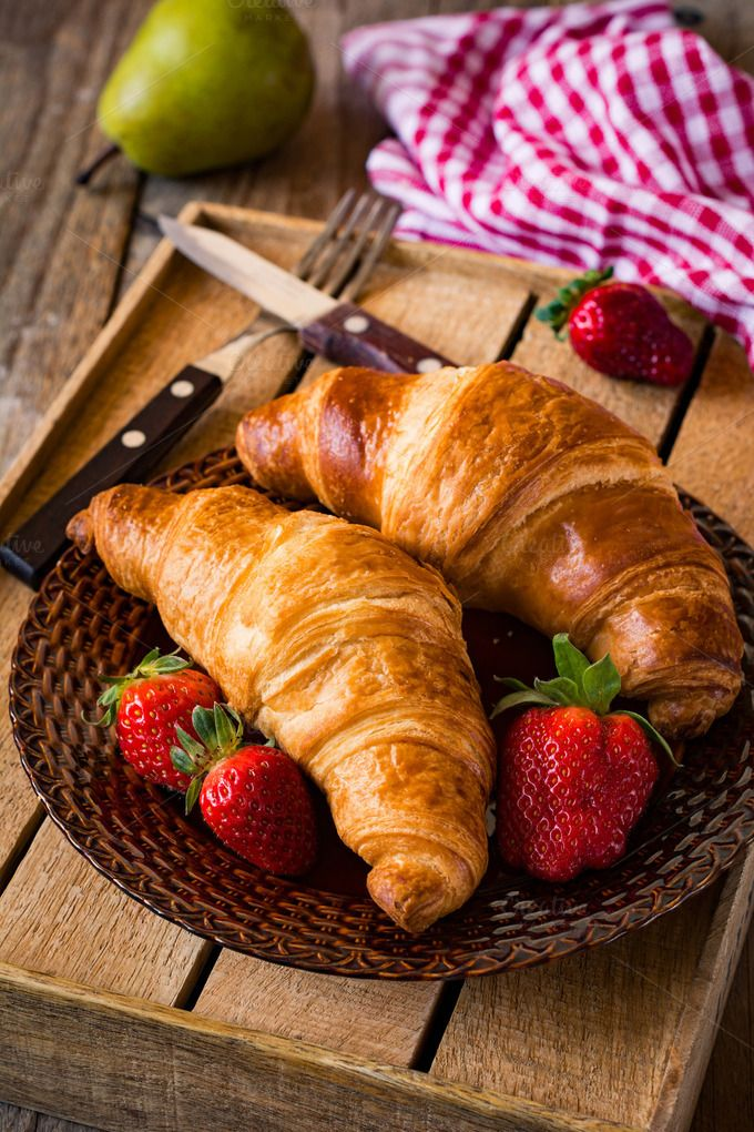 Croissants and strawberries | Photographing food, Food ...
