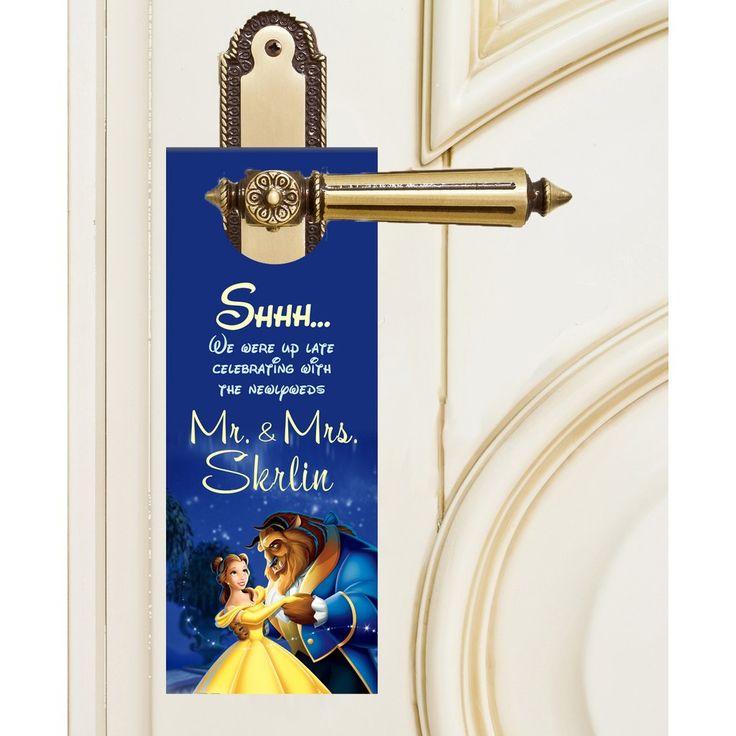 Disney's Beauty and the Beast Do not disturb door hangers hotel guests wedding favors #beautyandthebeast #wedding By #bestwelcomebags