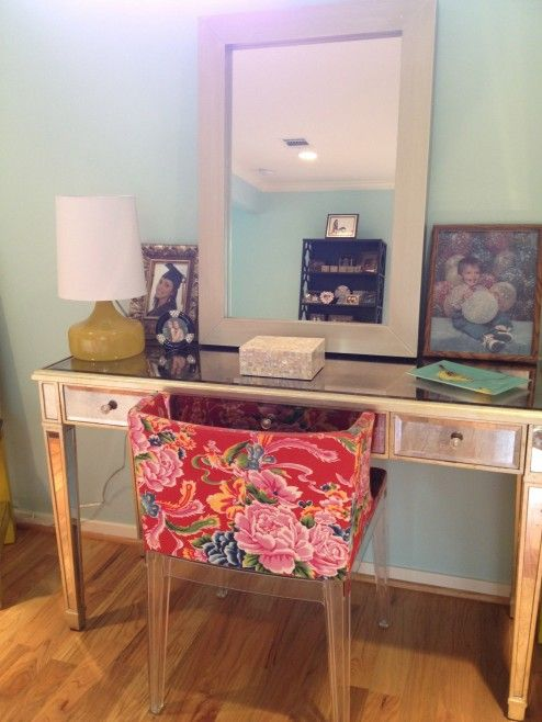 Furniture, Girly Desk With Flower Pattern Upholstered Chair For Girly  Makeup Table Design And Decoration