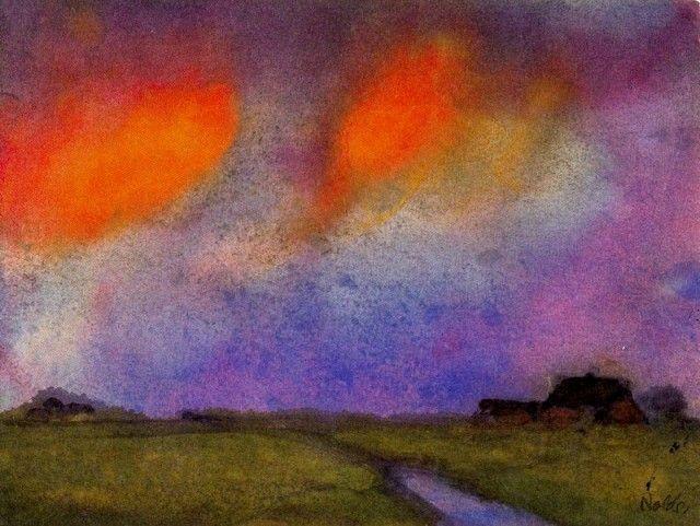 "Emil Nolde, ""Landscape under the evening sky Emil Nolde,"" ca. 1935, Seebull, Schleswig, Germany!"