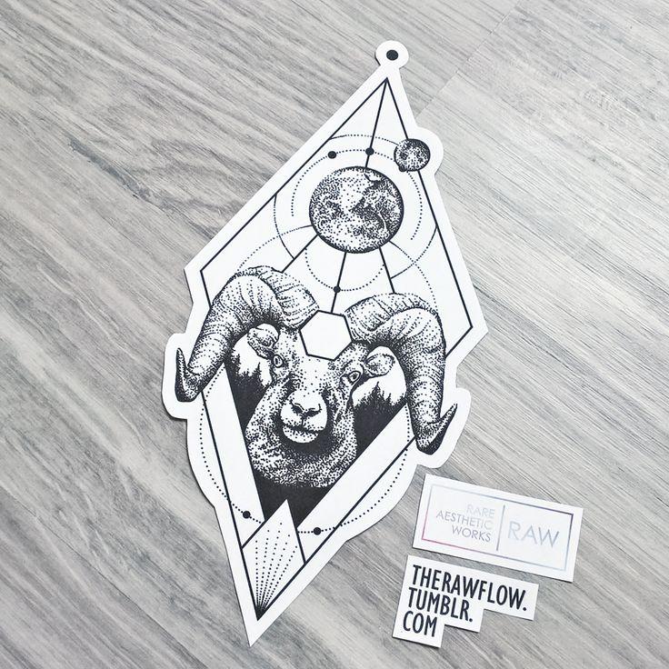 Dotwork geometric astronomy planets ram tattoo design - more at SKINQUE.COM
