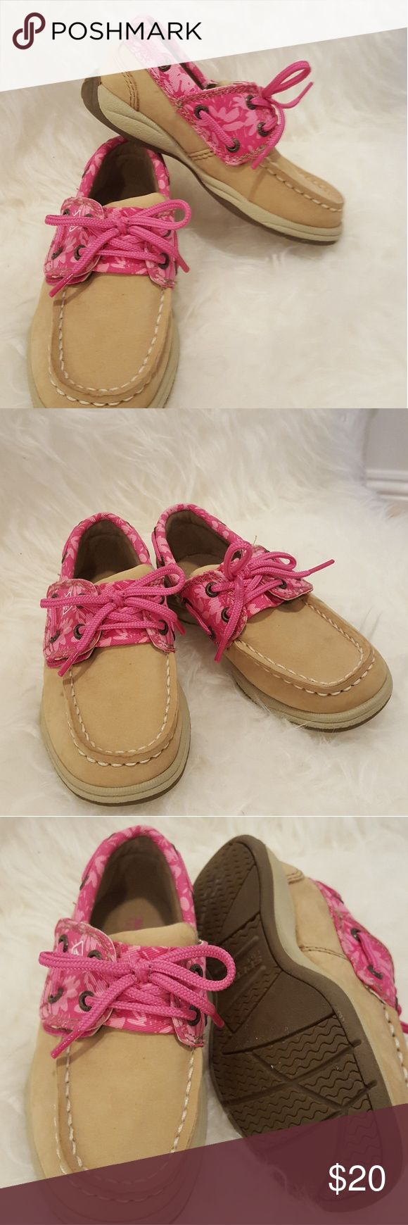 Kids Sperry's shoes size8.5 Adorable girl Sperry's shoes in size 8.5. Never been worn, new without tags nor box due to moving. So adorable, so sad that my daughter can't wear it since it's too small for her now! Brand new! Sperry Top-Sider Shoes Moccasins