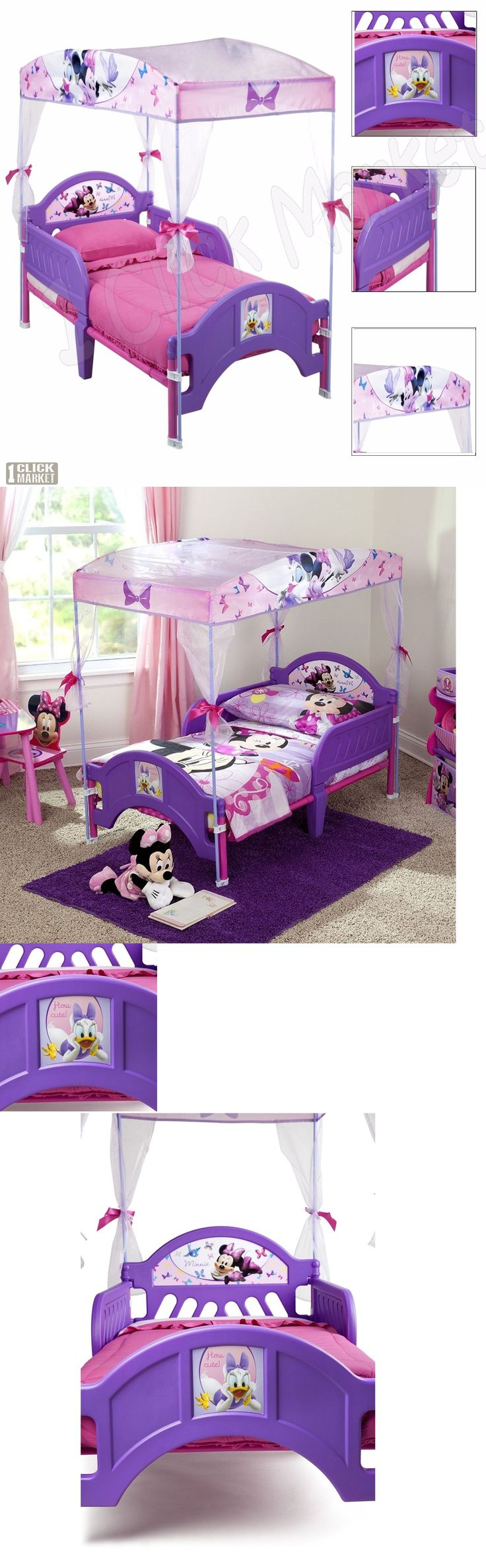 Kids Furniture: Minnie Mouse Girls Canopy Toddler Bed Kids Children Purple Bedroom Furniture Set BUY IT NOW ONLY: $98.14