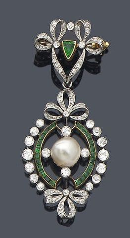 early 20th century diamond, emerald and pearl pendant/brooch, circa 1910.