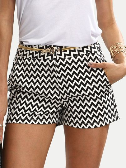 Black and White Casual Pocket Shorts