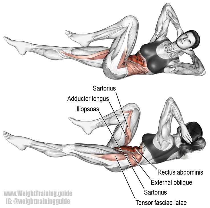 Bicycle crunch. Main muscles worked: Rectus Abdominis, Obliques, Iliopsoas, Tensor Fasciae Latae, Pectineus, Sartorius, Adductor Longus, and Adductor Brevis. In one study, found to be the most effective ab exercise! See website for details.