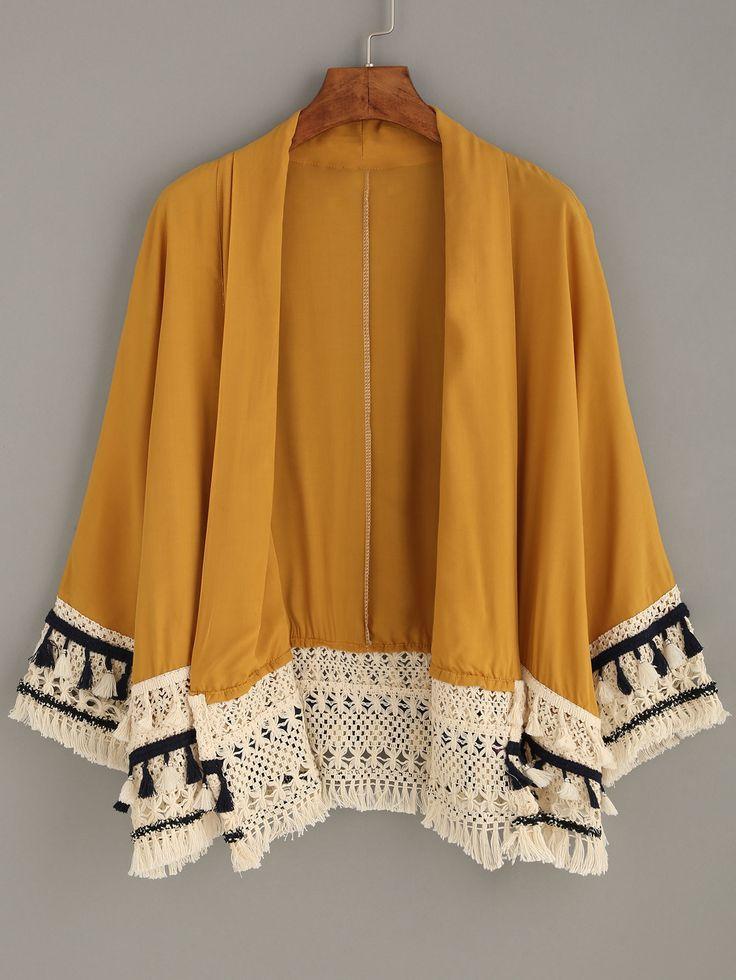 Kimono+décontracté+avec+franges+-+jaune+22.09