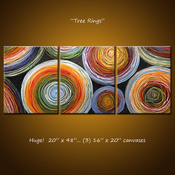 """Amy Giacomelli Painting.. Abstract Original Large Modern Art ... 20 x 48 ... """"Tree Rings"""""""