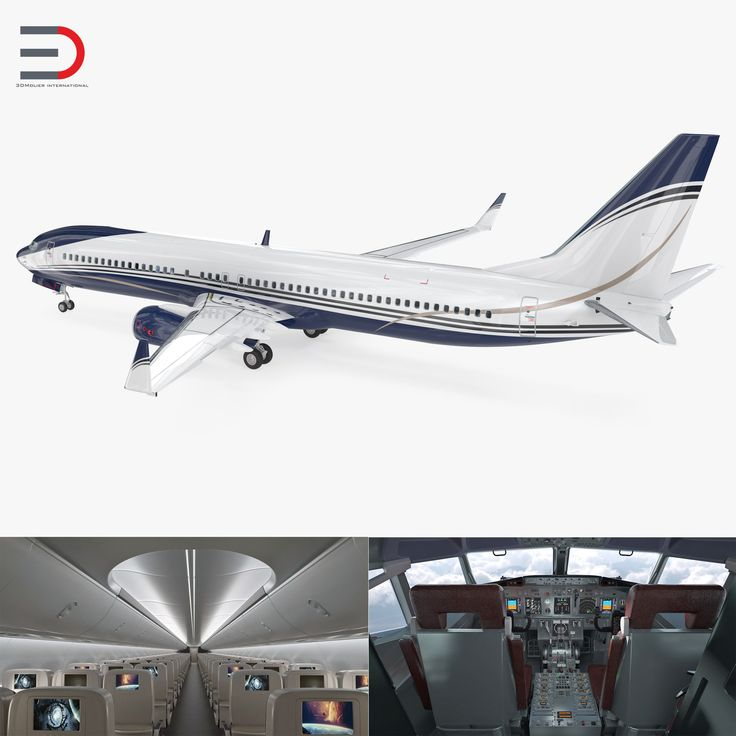 3D Boeing 737-900 with Interior Generic Rigged