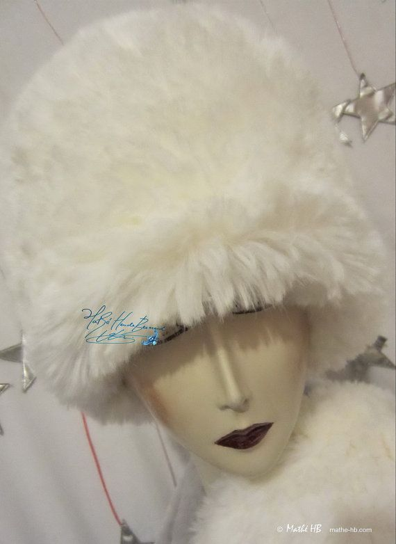 winter hat wolf white faux-fur of luxury love par MatheHBcouture