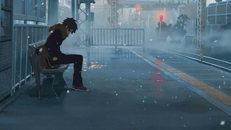 Rainy Street Anime Art Guy Sitting Anime Scenery Animated Love Images Aesthetic Anime