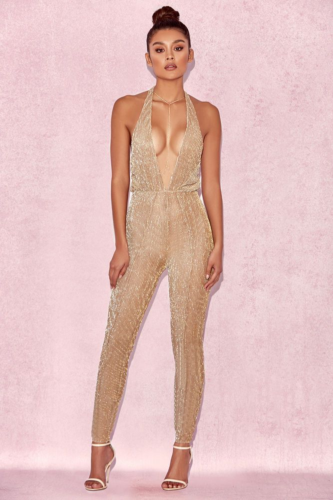 38e8513519 HOUSE OF CB  Tabby  Gold Lurex Semi Sheer Jumpsuit XS 6   8 SS 13860   fashion  clothing  shoes  accessories  womensclothing  jumpsuitsrompers  (ebay link)