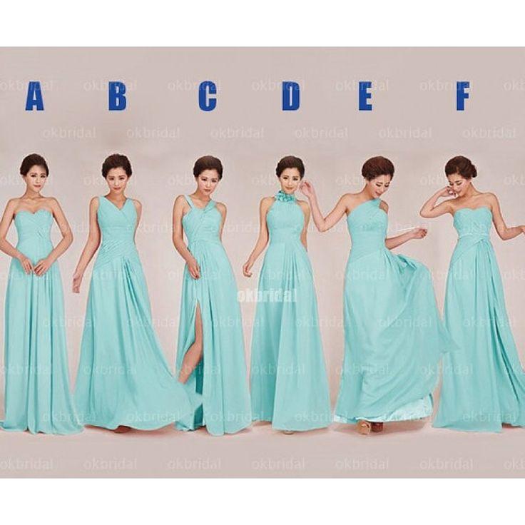 tiffany blue bridesmaid dresses, long bridesmaid dresses, mismatched bridesmaid dresses
