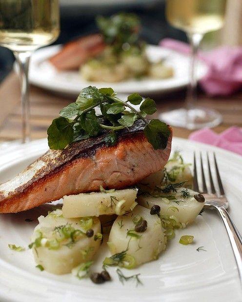 Warm salmon, potato and dill salad by Jill Dupleix. Photo: Quentin Jones