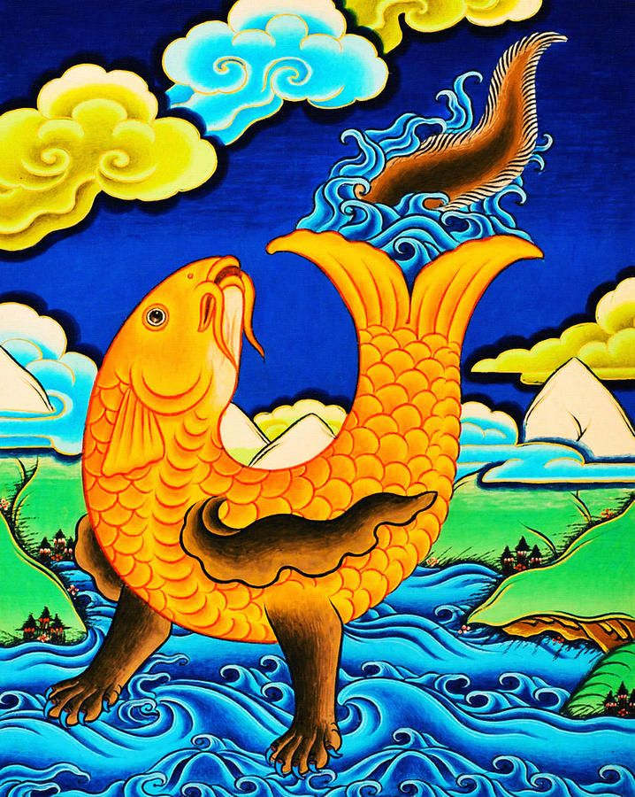 Golden Fish Painting by Lanjee Chee