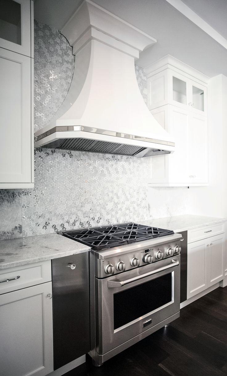 Metal mosaic tile mirror kitchen backsplash metal crystal glass stone - Custom Metal Hood With Polished Stainless Steel Accent Silver Mosaic Metallic Wall Tiles